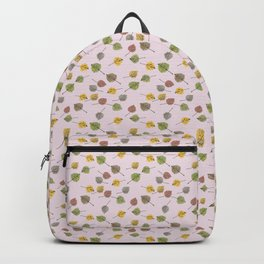 Small Colorado Aspen Tree Leaves Hand-painted Watercolors in Golden Autumn Shades on Petal Pink Backpack