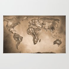 Stars world map. Sepia Rug