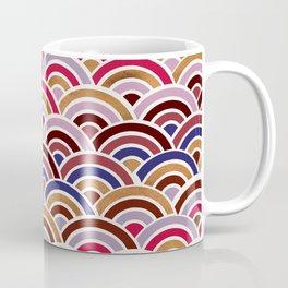 Japanese Seigaiha Wave – Mauve & Gold Palette Coffee Mug
