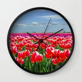 SKAGIT VALLEY FIELDS OF TULIPS 1 Wall Clock