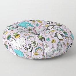 Narwhal and Friends, Emoji Tween Print, Unicorn, Cute Panda, Frappuccino, Penguin, Hippo Girls Art Floor Pillow