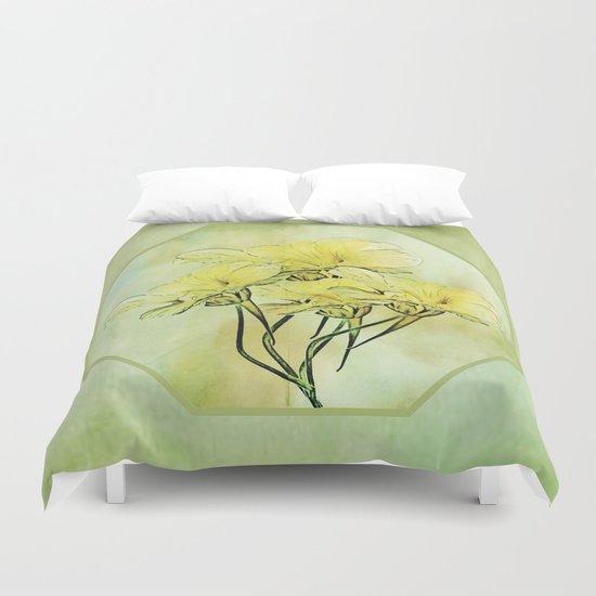 Elegant Framed Floral Abstract - Green Duvet Cover