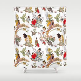 China Cabinet Toss Shower Curtain