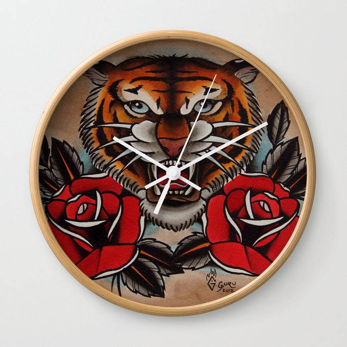 116713b05 Old School Tiger and roses - tattoo Wall Clock by gurumarques   Society6