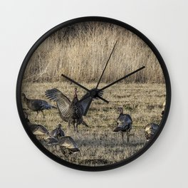 Flock of Wild Turkeys Wall Clock
