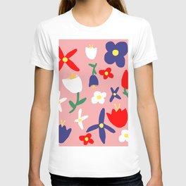 Large Handdrawn Bacchanal Floral Pop Art Print T-shirt