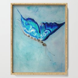 Flying blue butterfly Serving Tray