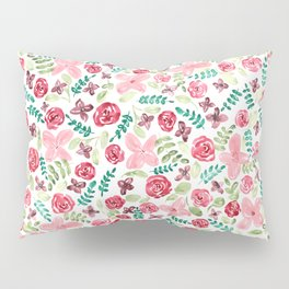 Colorful Watercolor // Hand Painted // Watercolor Flower and Leaves Pillow Sham