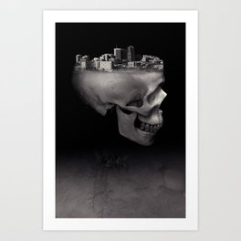 Urban Skull Horror Black and White City Art Print