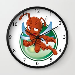 Cartoon red ant with wings Wall Clock