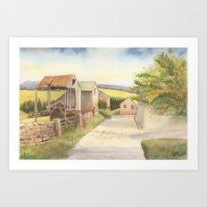 Farm Buildings by the Roadside Art Print