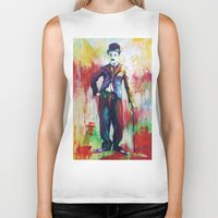 chaplin Biker Tanks featuring Charlie Chaplin by Marta Zawadzka