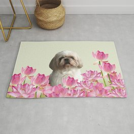 Paul Top Model - Shih tzu Dog - Lotos Flowers  Rug