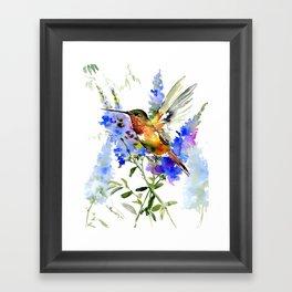 Alen's Hummingbird and Blue Flowers, floral bird design birds, watercolor floral bird art Framed Art Print