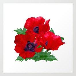 Red oriental poppies Art Print
