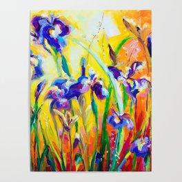 Alpha and Omega Impressionist Blue Irises Poster