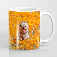 minnie Mugs featuring Yorkie in Poppies by Sue Liberto Photography