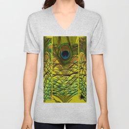GREEN-YELLOW PEACOCK FEATHERS ART DESIGN Unisex V-Neck