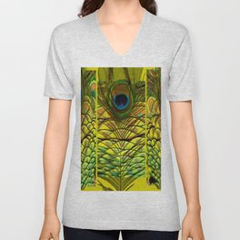 GREEN-YELLOW PEACOCK FEATHERS ART DESIGN Unisex V-Neck
