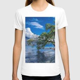 New Zealand summer Lake Wakatipu rocks coast green tree mountains T-shirt