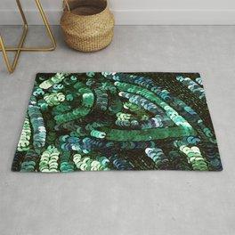 Forest Green Teal Sequin Design Rug
