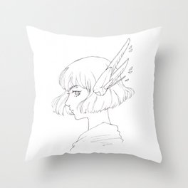 Mecha girl sci-fi manga art Throw Pillow