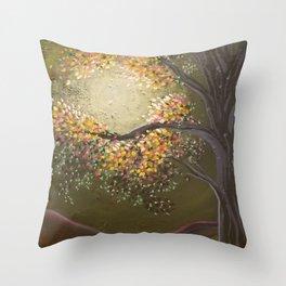 Moonlight Dance, tree and light art, moonlight, river valley Throw Pillow