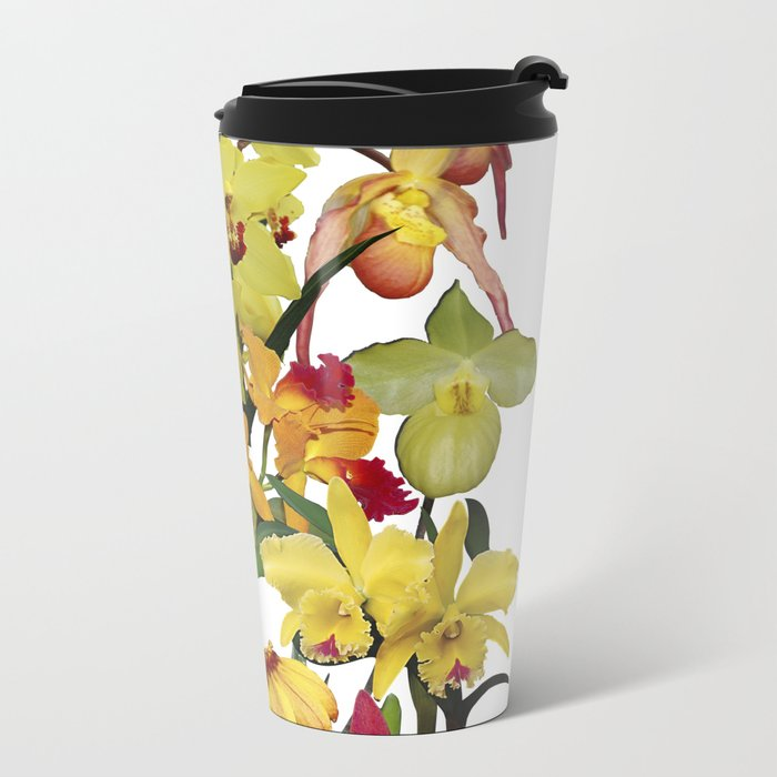 Orchids - Hot Colors! On white Metal Travel Mug