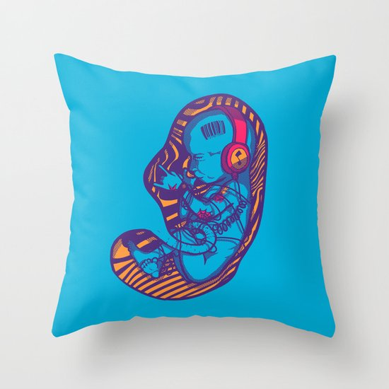 Neon Party Fetus  Throw Pillow