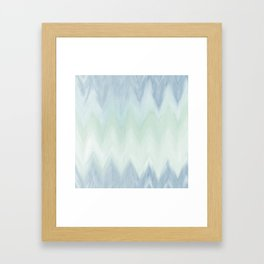 Modern geometrical pastel blue mint green watercolor ikat Framed Art Print