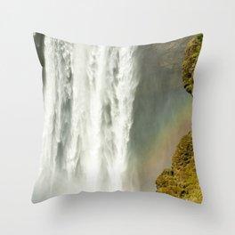 Skogafoss Rainbow Detail Throw Pillow