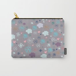 Rustic illustration flowers and clouds Carry-All Pouch