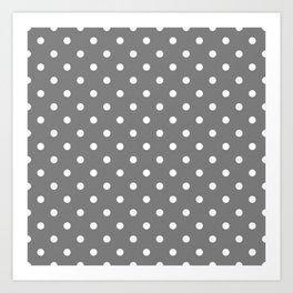 Grey & White Polka Dots Art Print
