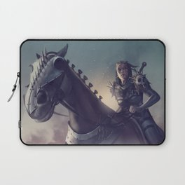 Roe sitting on a horse BLUE Laptop Sleeve