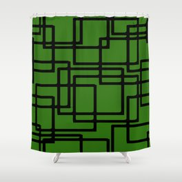 Retro Modern Black Rectangles On  Forest Green Shower Curtain
