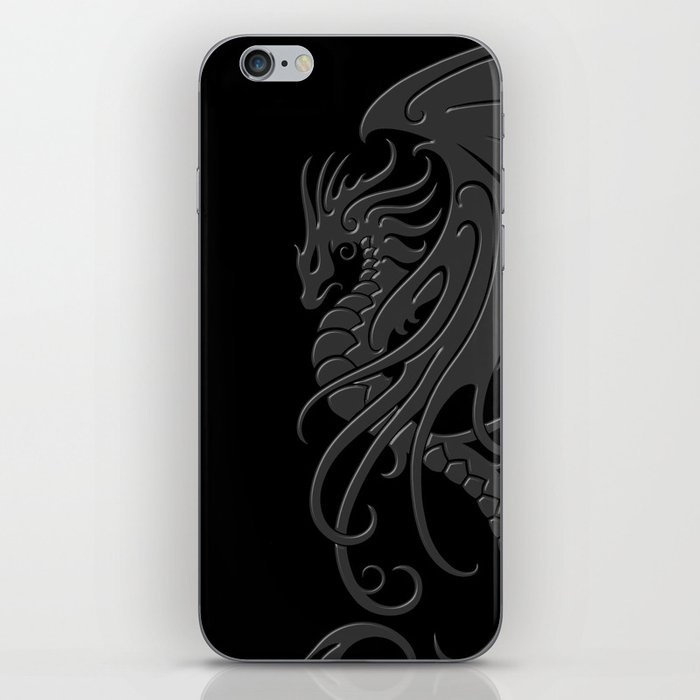 Flying Gray and Black Tribal Dragon iPhone Skin