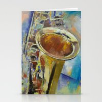 saxophone Stationery Cards featuring Saxophone by Michael Creese