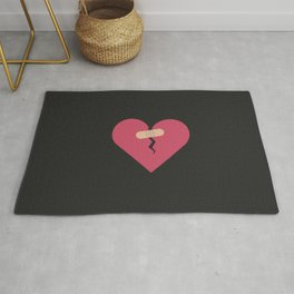 broken heart healed by patch Rug