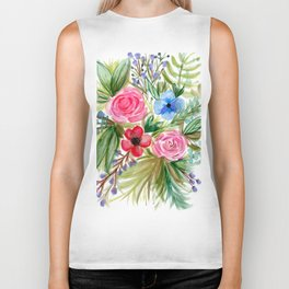 Watercolor Floral Bouquet No. 1 Biker Tank