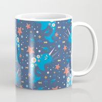 narwhal Mugs featuring Narwhal & Babies  by Carly Watts