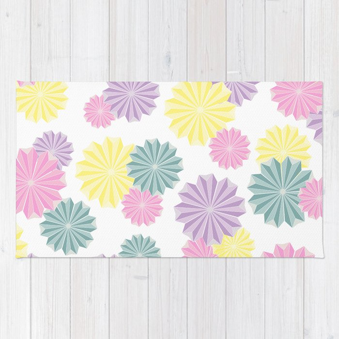 Origami Flowers Pastel Rug By Bucoparade Society6