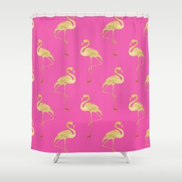 Gold Flamingo on Pink Shower Curtain