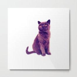 Purple Abstract Cat Metal Print