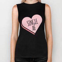 Single AF | Funny Valentine's Candy Heart Biker Tank