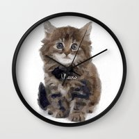 meow Wall Clocks featuring Meow! by 83 Oranges™