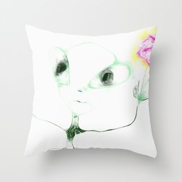 alien with flower Throw Pillow