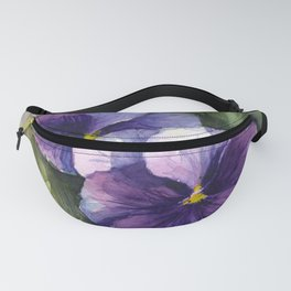 Purple Pansies Watercolor Flowers Painting Violet Floral Art Fanny Pack