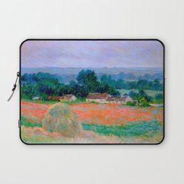 Claude Monet Impressionist Landscape Oil Painting Haystack at Giverny Laptop Sleeve