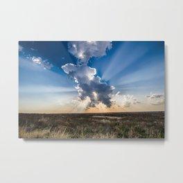 Explosion - Sunbeams Burst From Behind Storm Cloud in Kansas Metal Print
