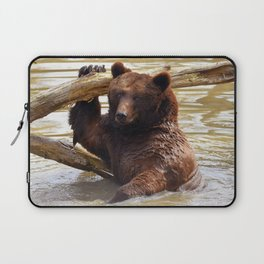 Majestic Large Grown Grizzly Bear Clinging Onto Fleetwood In Lake Ultra HD Laptop Sleeve